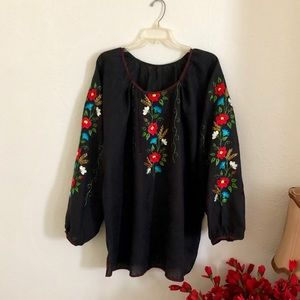 Tops - Ukrainian vyshyvanka embroidered long sleeve shirt